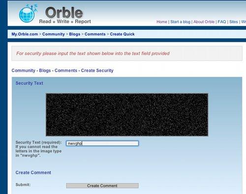 Orble Captcha Fail